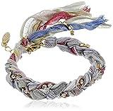 """Ettika Multi Rainbow Braided Vintage Ribbon Rhinestone Crystal Bracelet 8"""" + 1"""" Extender"""