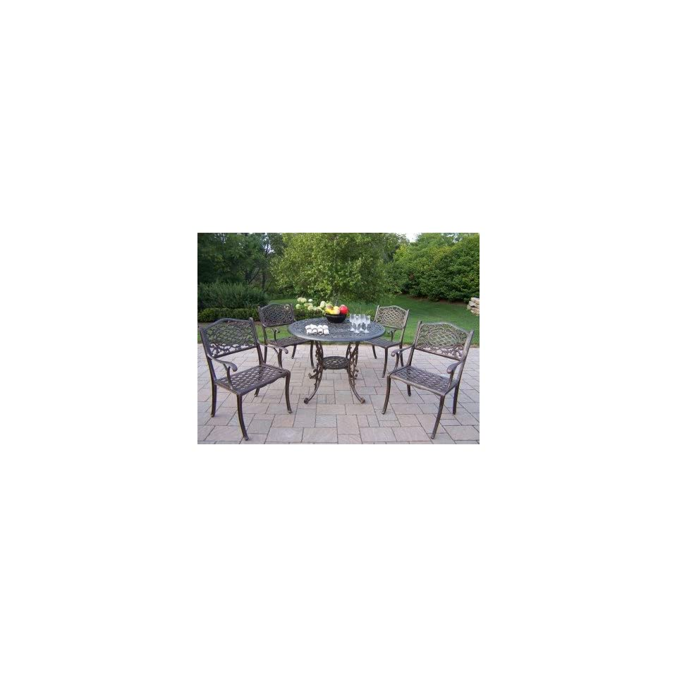 Oakland Living Mississippi Cast Aluminum 42 Inch 5pc Dining Sets