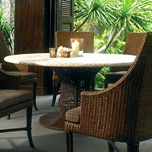 com 48 round dining table mosaic top rattan weave cast stone
