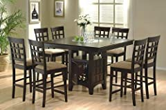 9pc Counter Height Storage Dining Table w/Lazy Susan & Chair Set