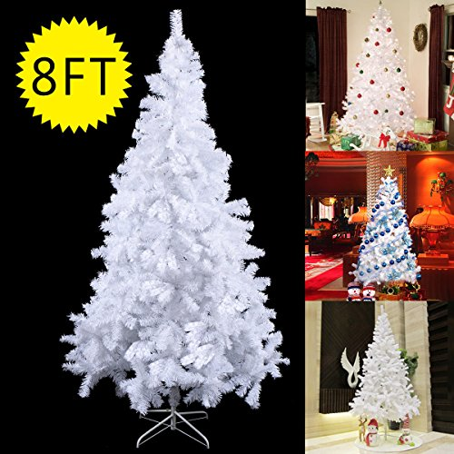 [8Ft Artificial PVC Christmas Tree W/Stand Holiday Season Indoor Outdoor White] (Fake Beards That Look Real)