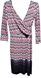 Maggy London Women's Printed Mock-wrap Zig-zag Border Dress 6 P