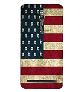 PrintDhaba US Flag D-5529 Back Case Cover for ASUS ZENFONE 2 (Multi-Coloured)