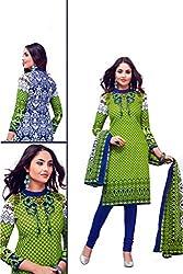 Rajlaxmi Woman's Cotton Unstiched Dress Material Multi Coloured Green & Blue