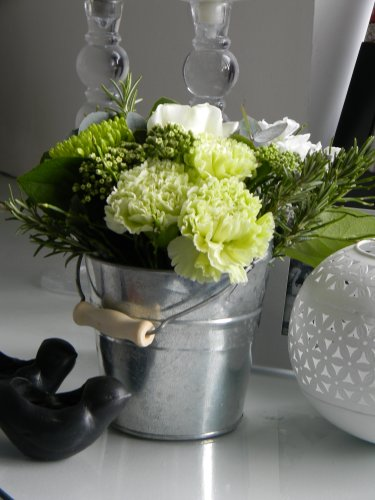 Fresh Flowers Delivered - Little Bucket of Garden Blooms And Herbs in a Petite Vintage Style Bucket