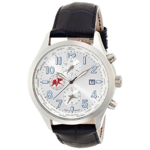 [ハンティングワールド]Hunting world 腕時計 タイムハンター ネイビー革 替えベルト付き ワールドタイマー クォーツ メンズ HW404BL メンズ 【正規輸入品】