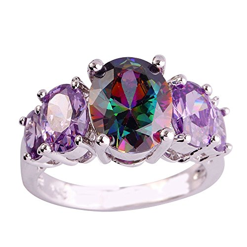Empsoul Women 925 Sterling Silver Natural Fancy Plated Rainbow Topaz Engagement Ring