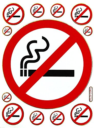 1 Sheet of Stop Smoking Stickers - Scrapbook Stickers - Reflective Stickers - Stickers for Kids - Size 4 x 5.5 Inch./Sheet