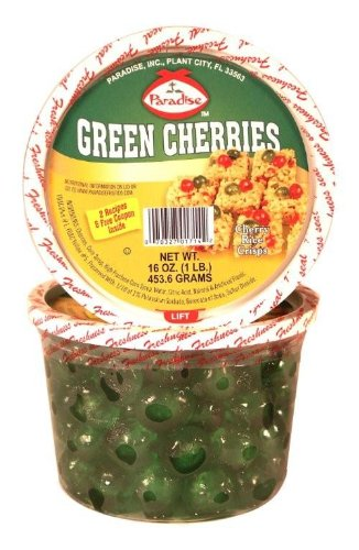 Paradise Green Cherries, Whole, 16 Ounce Tubs (Pack of 3)