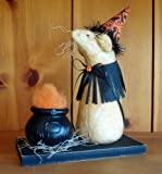 Halloween Decorations - Mouse Witch & Fiery Cauldron - Plush Halloween Decoration