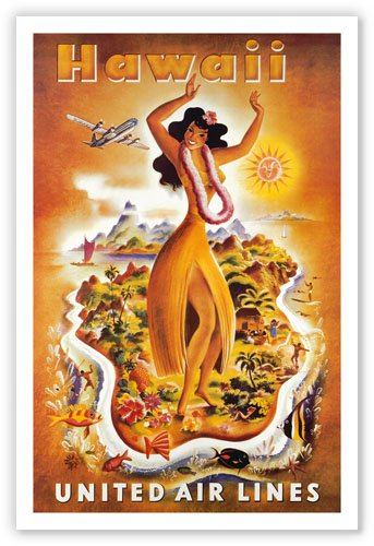 Hula Dancer, Hawaii United Airlines Travel Poster - Vintage Hawaiian Art Poster Print, 12