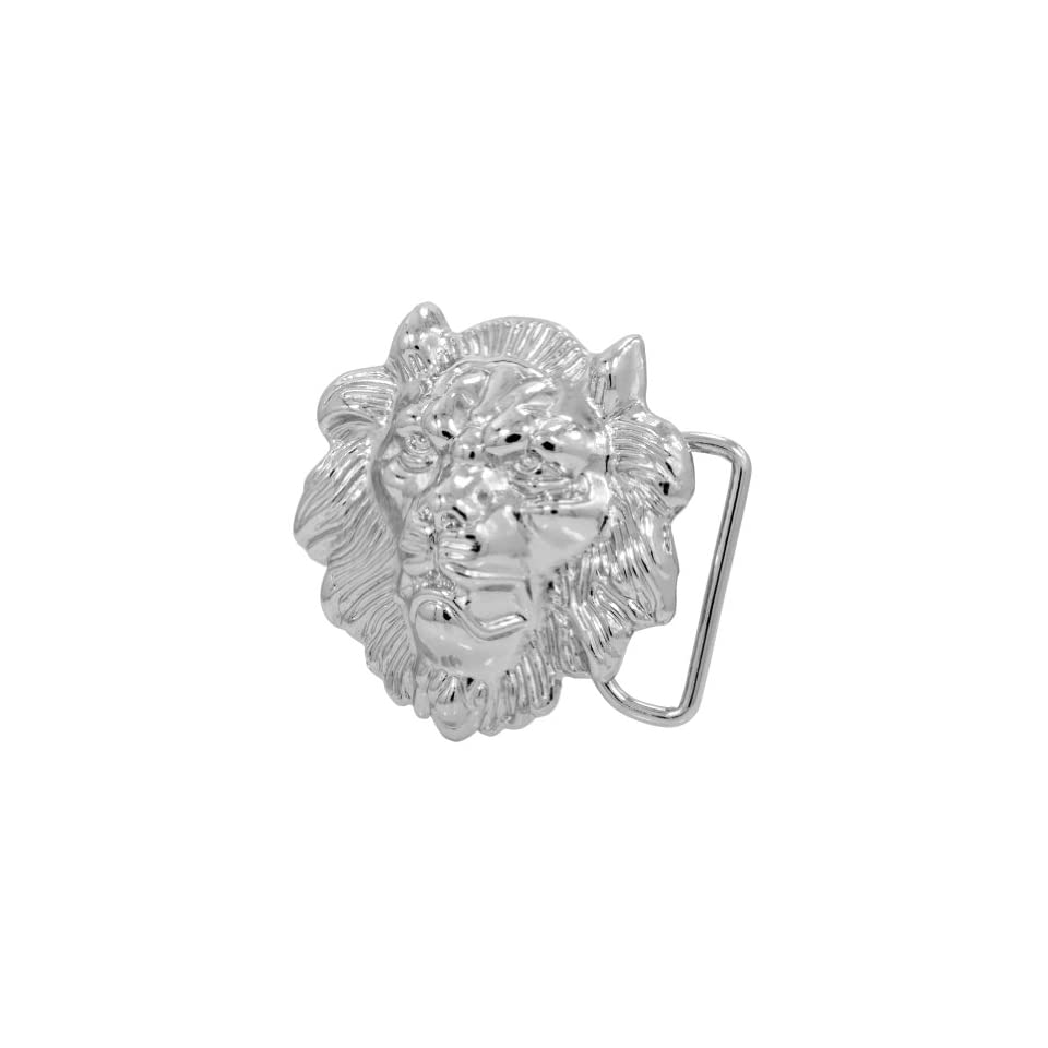 Silver Roaring Lion Head Belt Buckle Zinc Alloy African Rasta Unique Snap On Clothing