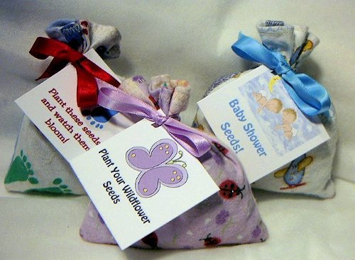 Set Of 5 Baby Shower Fabric Bag Of Seed Favors