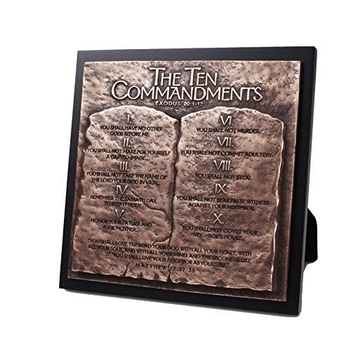 "Lighthouse Christian Products Moments of Faith Ten Commandments Sculpture Plaque, 8 3/4 x 8 3/4"""