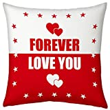 Valentine Gifts for Boyfriend Girlfriend Love Printed Cushion 12X12 Filled Pillow White Red Love You Forever Gift for Him Her Fiance Spouse Birthday Anniversary Everyday Gift