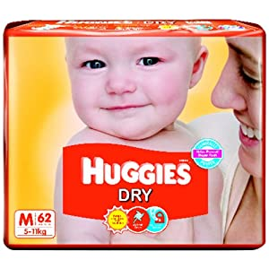 Huggies Dry Diapers Medium Size (62 Count) at Extra 26% Off - Rs 499
