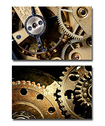 Canvas Prints Wall Art -Mechanical Gears Close Up, Industrial Grunge Background| Modern Home Deoration/Wall Decor Giclee Printing Wrapped Canvas Art Ready to Hang - 24