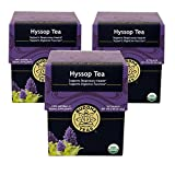 Hyssop Tea - Organic Herbs - 18 Sachets ~ 3 packs 56 sachets Bleach Free Tea Bags From Buddha Teas 3 pack 54 Sachets