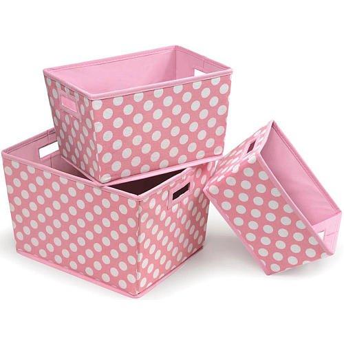 Badger Basket Nesting Trapezoid 3 Basket Set Pink Polka Dots front-668359