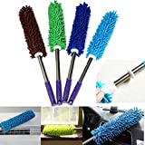 1 Piece Multipurpose Microfiber Cleaning Duster with EXTENDABLE Telescopic Wall Hanging Handle (Random Color)