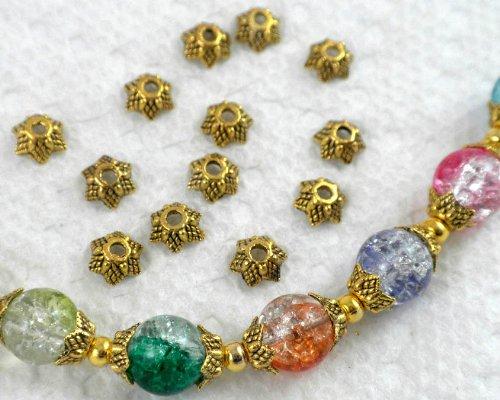 50pcs Antique Gold Star Shape Metal Bead Caps 6mm