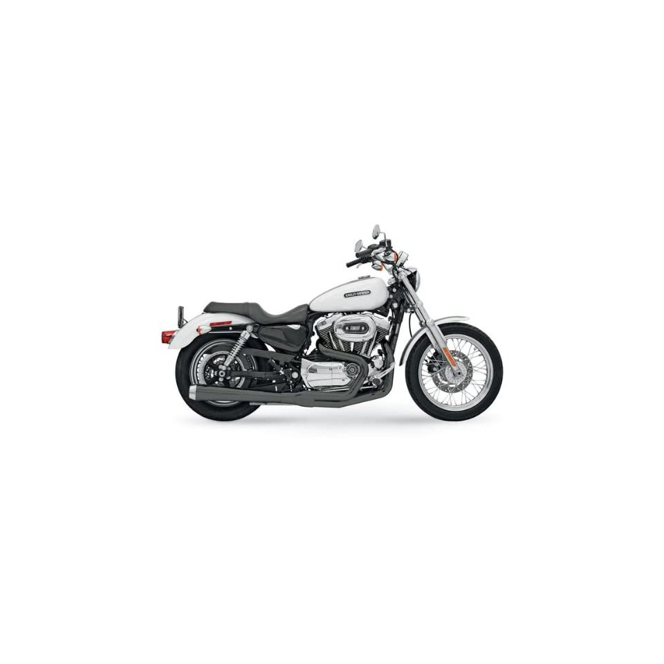 Bassani Exhaust Long Road Rage Two into One System With Heat Shield For Harley Davidson Sportster 2004 2012 / Street Glide 2009 2012   Black   14121J Automotive