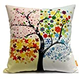 OJIA 20 X 20 Inch Cotton Home Decorative Throw Pillow Cover Cushion Case, Colorful Tree