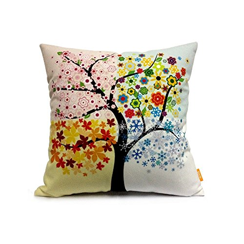 OJIA 18 X 18 Inch Cotton Home Decorative Throw Pillow Cover Cushion Case, Colorful Tree
