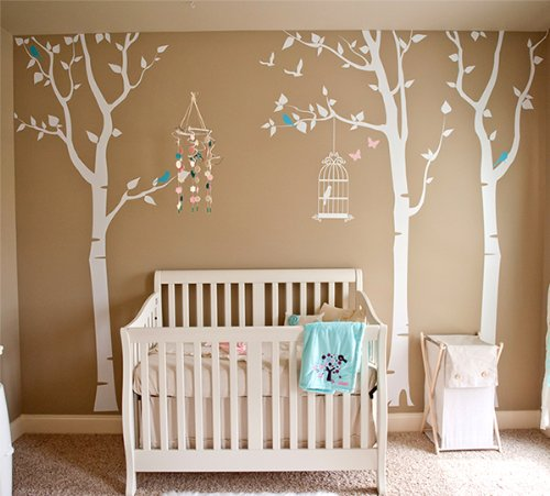 Pop Decors Removable Vinyl Art Wall Decals Mural for Nursery Room, Three Birch Trees and Birdcage