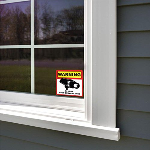 PACK Of Warning Hour Video Camera Surveillance Security Sign - Window decals for home security