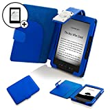 Forefront Cases Leather Case Cover Wallet with LED Reading Light and Screen Protector for Amazon Kindle 4 - Blue