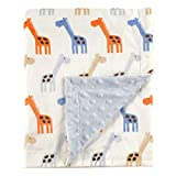 Hudson Baby Printed Mink Blanket with Dotted Backing, Blue Giraffe