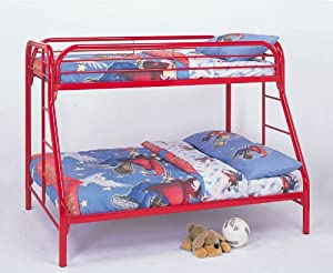 Twin Full Size Metal Bunk Bed with Double Ladders in Red Finish by Coaster