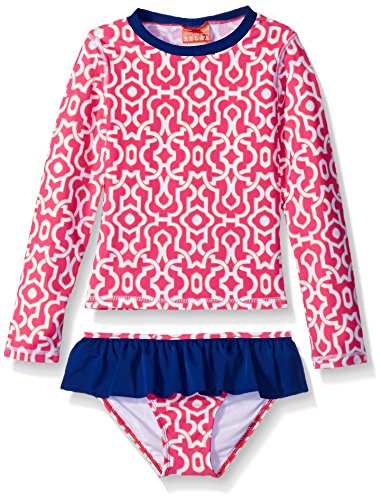 Tommy Bahama Big Girls Geometric Rash Guard Set, Pink, 8