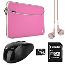 buy Vangoddy Neoprene Sleeve Cover For Asus 17.3 Inch Laptops With 64Gb Memory Card & Usb Mouse & Headphones (Pink)