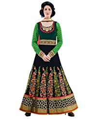 Inddus Exclusive Women Green & Black Partywear Anarkali Suit Set