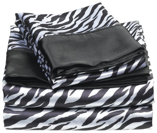 Divatex Home Fashions Royal Opulence Satin Twin Sheet Set, Zebra Black/White front-1068738