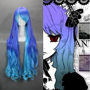 """36"""" Curly Gradient Purple Blue Cosplay Wig -- VOCALOID THE HOLIC LUKA"""
