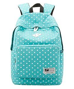 niceeshop(TM) Leichte Lässige Polk Punkte Tagesrucksack Rucksack Leinwand Buch Tasche Schultaschen für Frauen, Himmelblau