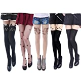 HDE Sexy Fun Printed Pattern Pantyhose – 5 Assorted Designs in 1 Pack (Bit of Everything)