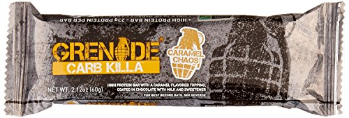 Grenade Carb Killa Protein Bar, Great Tasting High Protein and Low Carb Snack, Caramel Chaos, (Pack of 12), 2.12 oz. bar (Protein Bars Low Carb compare prices)