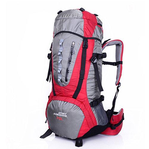 Grand sac de capacité / sac à dos de sport de plein air / sac d'alpinisme / sac à dos de randonnée-rouge 70L