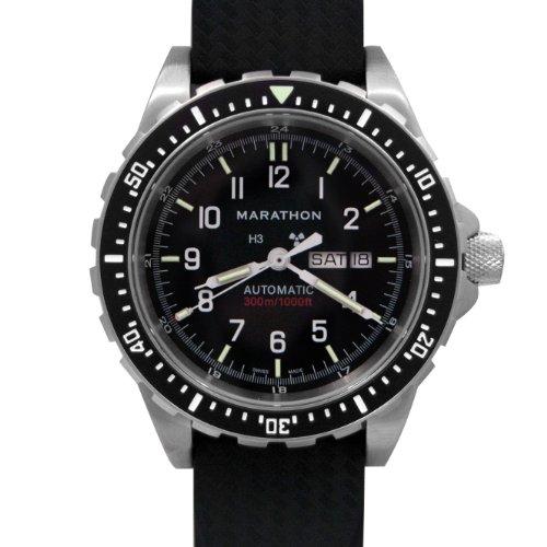 MARATHON WW194021 Men's Bilingual Diver's Automatic Calendar Black Dial Watch with Tritium