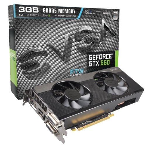 EVGA Nvidia GeForce GTX 660 FTW Signature2 3GB GDDR5 Graphics Card (PCI Express 3.0, HDMI, DVI-I, DVI-D, Display Port, 192-Bit, Nvidia Surround, SLI Ready)
