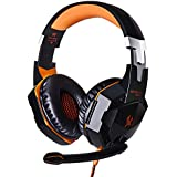 KOTION EACH G2000 Gaming Headphone With Microphone Stereo Bass LED Light For PC Game Headsets - Black Orange