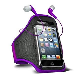 Fone-Case Samsung Galaxy i9190 S4 Mini verstellbaren Sport Fitness Jogging Arm Band Hülle & 3,5 mm In-Ear-Ohrhörer Basis Kopfhörer (Lila)