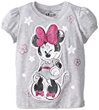 Disney Little Girls' Minnie Mouse Girls T-Shirt with 3D Tack On Applique