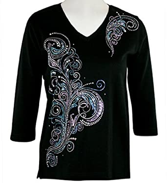 Christine alexander jeweled swirls scoop neck top with for Swarovski crystal t shirts
