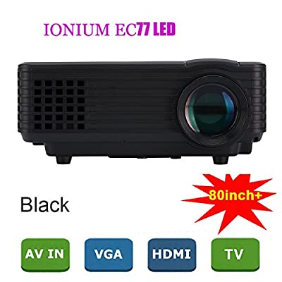 Everycom EC-77 1800 LUMENS LED Projector HDMI USB VGA TV Home Theater (White)