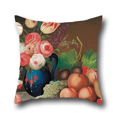 Pillowcase Of Oil Painting W.B. Gould - Still Life With Fruit And Flowers 16 X 16 Inch / 40 By 40 Cm,best Fit For Chair,car,dinning Room,teens Boys,boys,wedding Both Sides